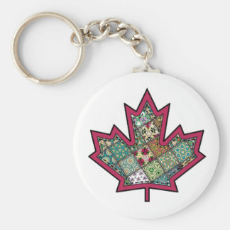 Patchwork Stitched Maple Leaf 01 Basic Round Button Key Ring