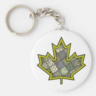 Patchwork Stitched Maple Leaf  6 Basic Round Button Key Ring