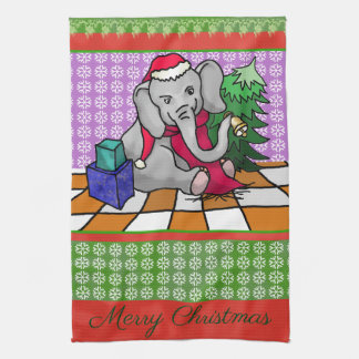 Patchwork Style Merry Christmas Elephant Tea Towel