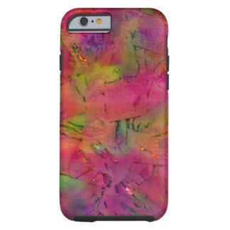 Patchwork Torn Pink and Green Abstract Tough iPhone 6 Case