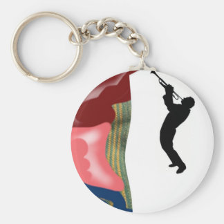 Patchwork Trombone Basic Round Button Key Ring