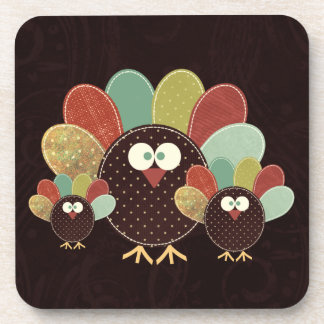 Patchwork Turkey Family of Three Thanksgiving Coaster