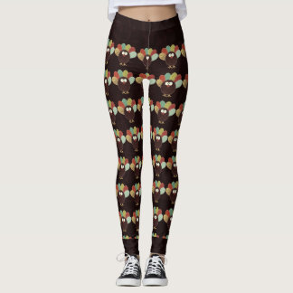 Patchwork Turkey Pattern with Rich Swirly Brown Leggings