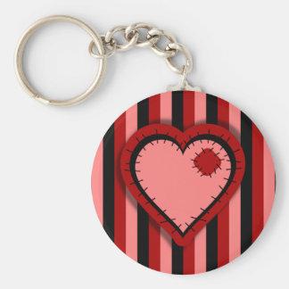 Patchwork Valentine Basic Round Button Key Ring