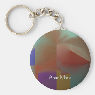 Patchwork w Customizable Text Basic Round Button Key Ring