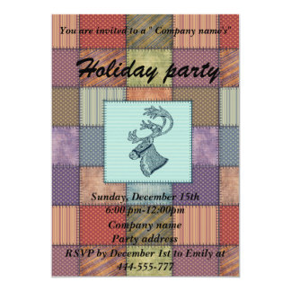 Patchwork winter reindeer corporate holiday party card