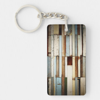 Patchwork Wooden Boards Single-Sided Rectangular Acrylic Key Ring