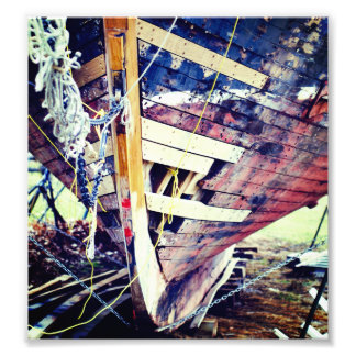 Patchwork Wooden Ship Photo Print