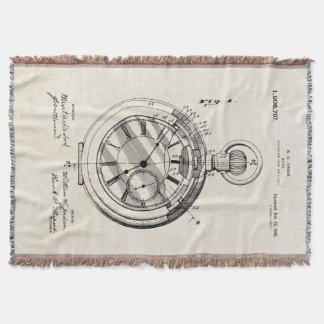 Patent Print Jordan Pocket Watch Throw Blanket