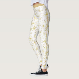 Patern of Gold Stars, Dots and Twin Racing Stripes Leggings