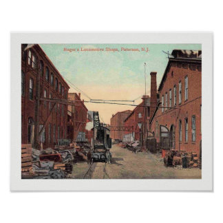 Paterson, New Jersey, Locomotive Shop Vintage Poster