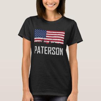 Paterson New Jersey Skyline American Flag Distress T-Shirt