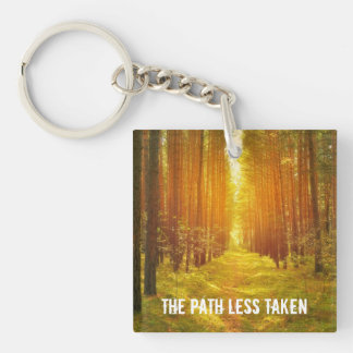 Path Less Taken Double-Sided Square Acrylic Key Ring