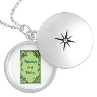 Patience is a virtue silver plated necklace
