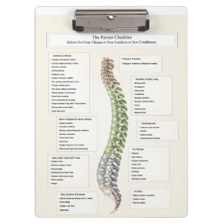 Patient Checklist Spinal Degeneration Chiropractic Clipboard