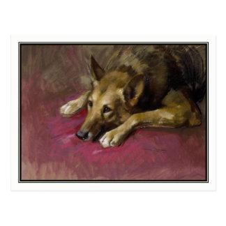 Patient German Shepherd by Marino Lenci Postcard