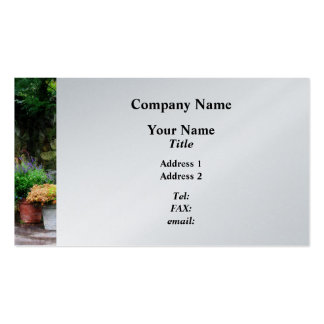 Patio Garden in the Rain  - Platinum Finish Business Card Template