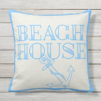 Patio Pillow Beach House Anchor Light Blue