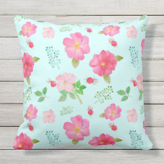 Patio Pillow Beautiful Wild Pink Roses Rose Hips Cushion