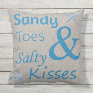 Patio Pillow Sandy Toes and Salty Kisses Beach