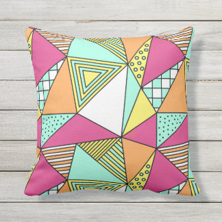 Patio Pillow Triangular Pink Turquoise Plus