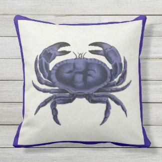 Patio Pillow Vintage Crab Nautical Blue