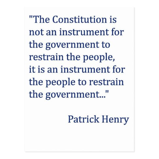 Patrick Henry Constitution Quote Postcards