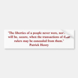 Patrick Henry Quote Bumper Sticker