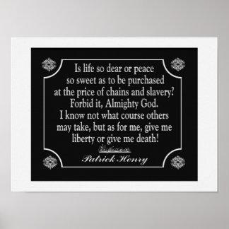 Patrick Henry Speech Quote - art print