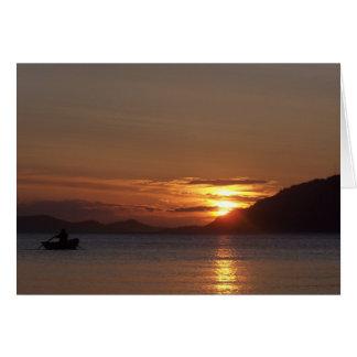 patrick rowing across Cowlitz Bay Card