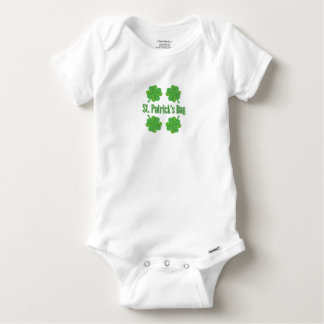 Patrick's Day with clover Baby Onesie