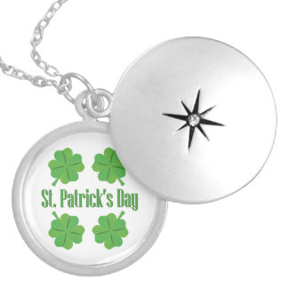 Patrick's Day with clover Locket Necklace