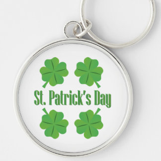Patrick's Day with clover Silver-Colored Round Key Ring