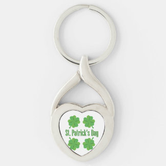 Patrick's Day with clover Silver-Colored Twisted Heart Key Ring