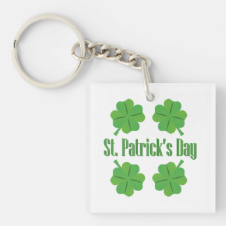 Patrick's Day with clover Single-Sided Square Acrylic Key Ring