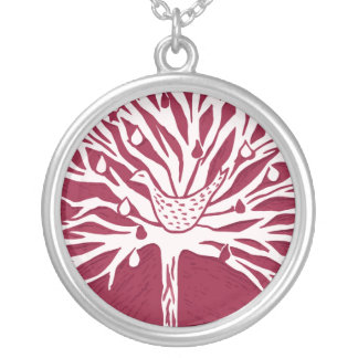 Patridge in Pear Tree Silver Plated Necklace