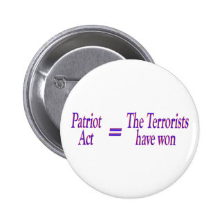 Patriot Act = The Terrorists won 6 Cm Round Badge
