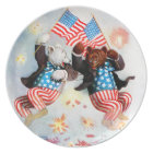 Patriot Bear Celebrate the Fourth of July Plate