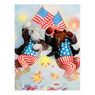 Patriot Bear Celebrate the Fourth of July Postcard