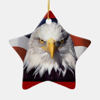Patriot Eagle and Flag Ceramic Ornament
