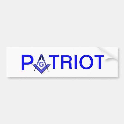 Patriot masonic bumper sticker