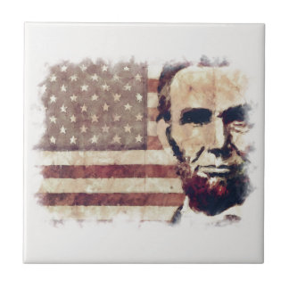 Patriot President Abraham Lincoln Small Square Tile