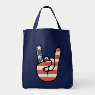 Patriot Rock Hand Tote Bags