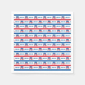 Patriotic 2016 Republican Elephant Stripes Paper Serviettes