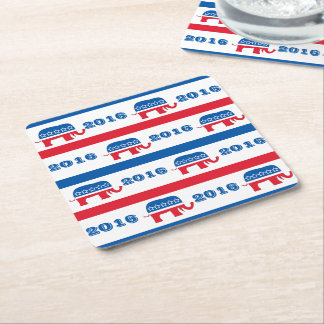 Patriotic 2016 Republican Elephant Stripes Square Paper Coaster