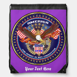Patriotic 4th July View About Design Drawstring Backpacks