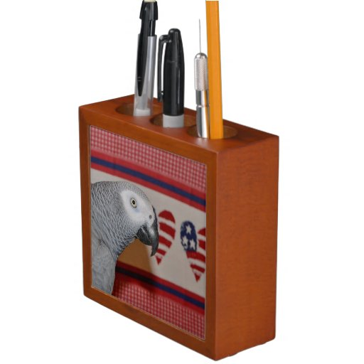 Patriotic African Grey Parrot Desk Organizers