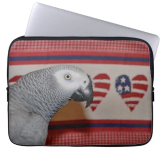 Patriotic African Grey Parrot Laptop Sleeve