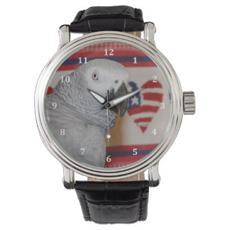 Patriotic African Grey Parrot Leather Watch