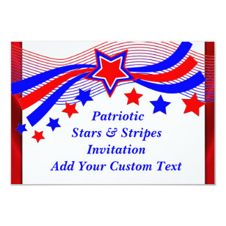Patriotic All American Stars & Stripes Invitation